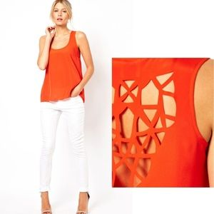 Orange Hollow Out Back Tank Top